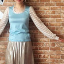 LYS -fantasia for your dress- シースルーボーダー袖カットソー [light blue]