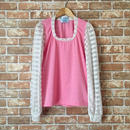LYS -fantasia for your dress- シースルーボーダー袖カットソー [pink]