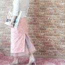 LYS -fantasia for your dress- フランス製ヴィンテージファブリックハイウエストチュールスカート [light choral]