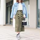 【COODINATE SET】ヴィンテージ加工 デニムジャケット×パワーショルダーカットソー×ベルト付きトレンチスカート