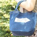 ビーチデニムトートバッグ ウォッシュブルー   ロゴ風お名前入れます!
