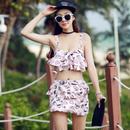 女性の心を擽る落書き風ハート模様スカート付キャミタイプ水着ピンク黒