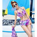 色鮮やかなフラワー模様ワンピース付ビキニ/3セット/ピンク/紫
