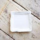 馬場勝文 / リム角皿5寸 - 白磁マット