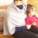 妊娠~授乳期、その後も使える ベビーアルパカのケープ  ライトブラウン