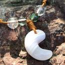 ピンクマンガンカルサイトの勾玉ネックレス