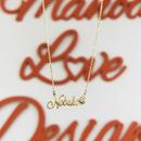 14K ハンドカットネーム&ダイヤモンドネックレス