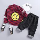 (086)♡ニコちゃん♡チェックシャツ♡デニムパンツ♡2点セット♡レッド♡80-110size♡