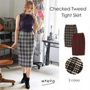 Checked Tweed Tight Skirt