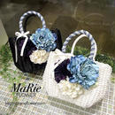 Flower Bag White/Black    M    【デニムレース 】