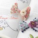 小花柄ダブルリボンバレッタ