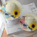 【限定】トリプルリボンひまわり♡麦わら帽子