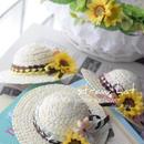 ひまわり麦わら帽子・編みリボン貝殻付き🐚