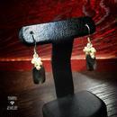 スクエア黒蝶貝とパールのピアス - silver -