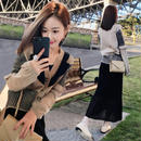 ワンピース❤セットアップ 袖がデザイン的なカーディガンに透け感あるスカートセット hdfks961807