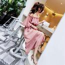 ワンピース❤オフショルダーで鮮やかなストライプ色のマキシワンピ! hdfks961336