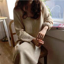 ワンピース❤無地のふんわりやさしい韓国ファッションロングワンピ hdfks961822