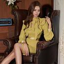 ワンピース❤韓国ドレス 襟や胸元フリルに可愛いさある大人タイトワンピース hdfks961857