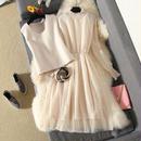 ワンピース❤韓国ドレス ドット可愛いシフォンドレスにベストのついた、可愛いフェミニンガーリーワンピ hdfks961812