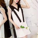 ワンピース❤韓国ドレス バイカラーノースリーブの清楚可愛い大人バックコンシャスミニワンピ hdfks962058