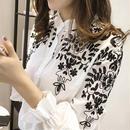ブラウス❤花柄刺繍 モノトーンで大人おしゃれなシャツです! hdfks960024