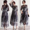 ワンピース❤韓国ドレス 小花柄シースルーでとっても大人可愛いロング hdfks961819