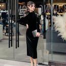 ワンピース❤韓国ドレス 肩のレースとフリルがカッコいい大人色っぽいタイトワンピ hdfks961933