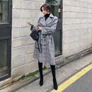 トレンチコート❤韓国アウター グレンチェックの大人可愛いロングでカッコいいコート hdfks961970