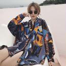 ブラウス❤トップス レトロなデーモン柄の韓国ファッション長袖シャツ! hdfks961670