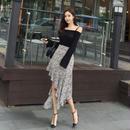 ワンピース❤オフショルダー、アシンメトリースカートが可愛いツーピース hdfks961815