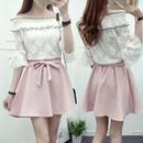 ワンピース❤オフショルダーレース花柄に可愛いピンクのスカートでフェミニン&ガーリーのミニワンピ! hdfks961460