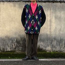 mulch argyle柄 cardigan/used/usa古着