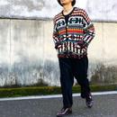 総柄 wool knit cardigan /mulchcolor/USA古着/USED