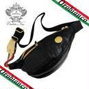 Orobianco オロビアンコ TAKE別注 GOCCIA ゴッチャ ボディバッグ 斜め掛け 牛革 ショルダー クロコ型押し 黒 (153)