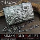 Maturi マトゥーリ カイマンクロコ 二つ折り財布 ウォレットチェーン付 MR-041 BK/WH