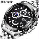 Bosck クォーツ腕時計 ステンレス 防水 メンズ カラバリ3色
