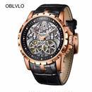エクスカリバー風 メンズ スケルトン腕時計 自動巻 カラバリ6色