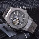 ウブロ風 メンズ 機械式腕時計 自動巻 グレー サファイアクリスタル レザーストラップ age girl aaa+