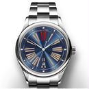 Karebo メンズ 自動巻腕時計 機械式 ビジネス ブルー/ホワイト