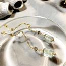 Column - Pierced Earrings and Earrings - Green amethyst, Smoky