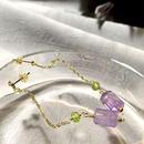 Column - Pierced Earrings and Earrings - Amethyst, Peridot