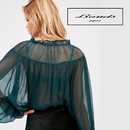 B114 Lace-up Chiffon Blouse
