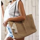 麻手編みタッセル付きバッグ