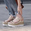 Facndinll ファッション 本革 女性 夏 サンダル 靴 セクシー ウェッジ ハイヒール オープン 靴 女性 ドレス パーティー カジュアルシューズ 送料無料 サンダル 厚底 フッドベッド