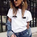 【1000円ポッキリ】Tシャツ 女性 夏 半袖 Tシャツ コットン レディース ホワイト ラウンドネック ウィンク 目 かわいい Tシャツ キュート ウインク デザイン かわいい ポップ Tシャツ