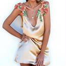 Jo kalin 新しい 夏 女性 vネック サテン dress aライン ノースリーブ 肩刺繍 花 パーティー ドレス  刺繍 シンプル タイト ウエスト シンプル
