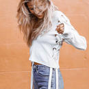 Skitzyou 長袖 セクシー vネック サイド レース アップ ホワイト 女性 短い セーター ニット 秋冬 ストリート 着用 プルオーバー ジャンパー レディース 長袖 編み上げ スピンドル