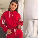 Ordifree 秋 2点 セット 女性 トラックスーツ スポーツ ウェア カジュアル 白 赤 スウェット パンツ フード クロップドトレーナー パーカー スエット ジャージ レディース かわいい