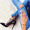 LALA IKAI 女性 エレガント クロスタイド ハイヒール パンプス 11.5 CM 結婚式 女性 靴 ジッパー サンダル レディース サンダル ハイヒール レースアップ 編み上げサンダル