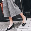 QUTAA 女性 革 パンプス PU ファッション 靴 パンプス 細い ヒール ポインテッドトゥ プラット フォーム スリップ シンプル デザイン スマート シルエット 送料無料 本革 パンプス